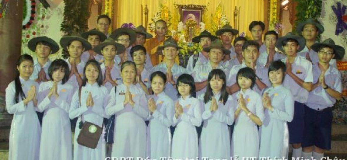 GĐPT Đức Tâm phụ trách tiếp lễ và hầu cận kim quan Trưởng lão HT Thích Minh Châu