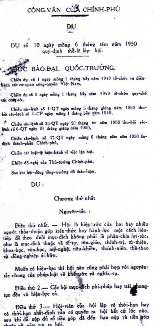 Dụ số 10 ngày 6-8-1950 gồm 45 điều - Ảnh: Thư viện Hoa Sen