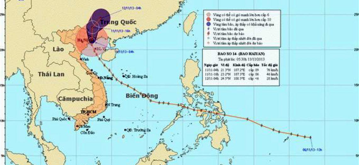 Haiyan đang trên đường tràn sang Quảng Tây (Trung Quốc)
