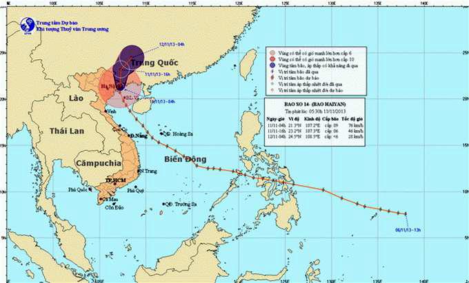 Bản đồ đường đi và vị trí tâm bão của Trung tâm khí tượng thủy văn Trung ương